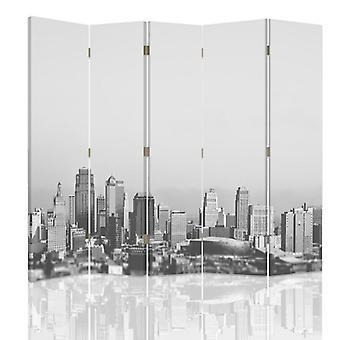 Divisor de habitación, 5 paneles, de doble cara, giratorio 360 ?? Lienzo, Metropolitano