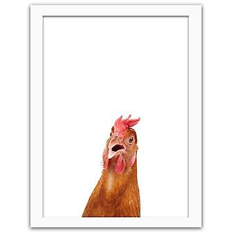 Picture In White Frame, Hen