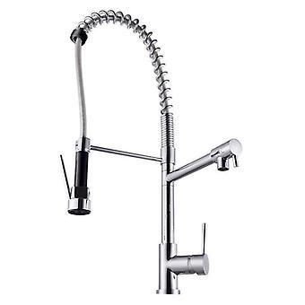 Euro Round Chrome Kitchen Sink Pull Out Mixer Double Spout