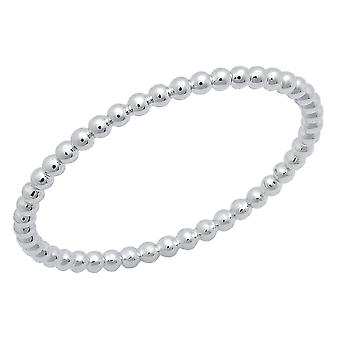 Dazzlingrock Collection 14K Beaded Style Ladies Ball Chain Design Wedding Band, White Gold