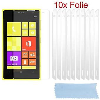 Cadorabo screen screens for Nokia Lumia 1020 - Protective films in HIGH CLEAR - 10 pieces of highly transparent protective films against dust, dirt and scratches
