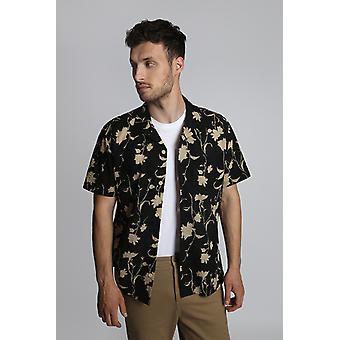 Hymn Shade Abstract Floral Seersucker Resort Shirt Black