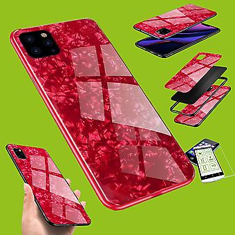 Für Apple iPhone 11 Pro Max 6.5 Zoll Color Effekt Handy Cover Rot Tasche Hülle + H9 Hart Glas