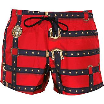 Versace Bondage Print Luxe Swim Shorts, Red