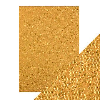 Tonic Studios Craft Perfect A4 Luxury Embossed Card, Cardstock, Honey Gold Roses, 30 x 21.5 x 0.5 cm