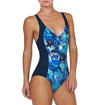 arena Womens Equatorial One Piece Cross Back Swimming Swimsuit Costume - Navy