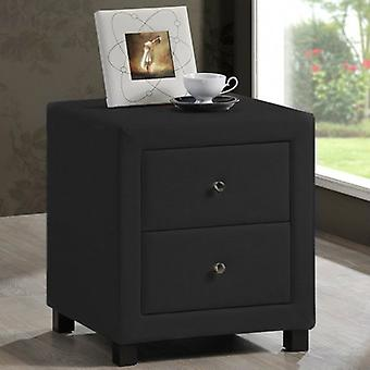 Chelsea 2 Drawer Bedside - Faux Leather - Black