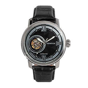 Heritor automatische Maxim semi-skelet leder-Band Watch-zilver/zwart