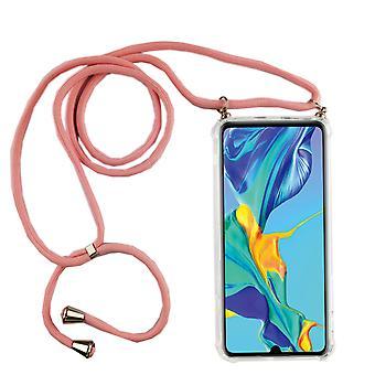 Telefonní řetězec pro Huawei P30 Lite-smartphone náhrdelník s pásem karet-kabel s Pouzdrou k pověsit na růžovou