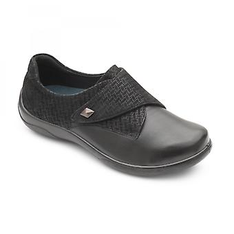 Padders Viola Ladies Leather Extra Wide (2e/3e) Shoes Black