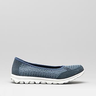 Boulevard L9548c Ladies Memory Foam Slip On Trainers Navy