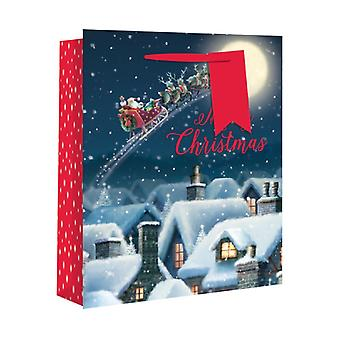 Eurowrap Christmas Wide Gusset Gift Bags with Flying Santa Design (Pack of 12)