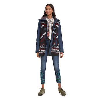 Desigual Women's Navai Denim & Ethnic Duffle Coat