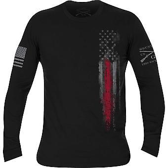 Gruntスタイルファーストレスポンダー長袖Tシャツ - ブラック/レッドラインフラッグ