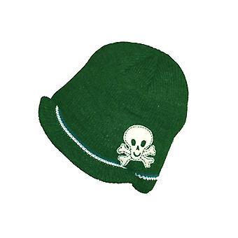 Bebê infantil de malha Trapper velo alinhado inverno crânio & Crossbone chapéu verde-oliva