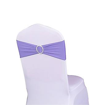 Lavender Plain Stretchable Spandex Chair Sashes With Round Diamante Buckles