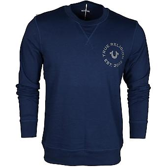 True Religion Long Sleeve Round Neck Navy Sweatshirt