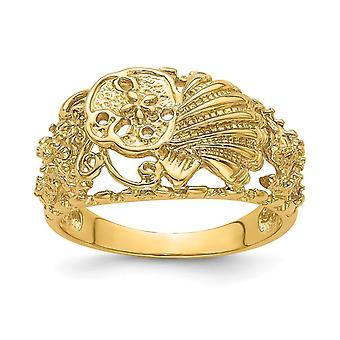 14k Ouro Multi Shell Combinação Dedodo Anel Tamanho 7 Joias para Mulheres - 3,7 Gramas