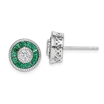 925 Sterling Silver Rhodium verguld cubic Zirconia en gesimuleerde Groene Spinel Oorbellen Sieraden Geschenken voor vrouwen