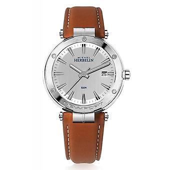 Michel Herbelin 12288-12GO Men's Newport Brown Strap Wristwatch