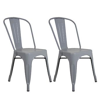 Charles Bentley Pair of Industrial Dining Chairs Light Grey