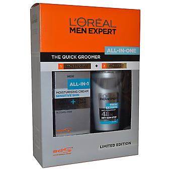 Men Expert by L'Oreal The Quick Groomer All in One Set Moisturise Cream 75ml & Roll on Deo