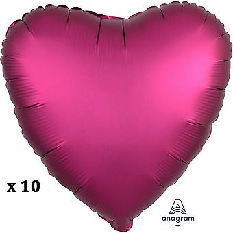 Anagram 18 Inch Heart Satin Luxe Pomegranate Foil Balloon (Pack Of 10)
