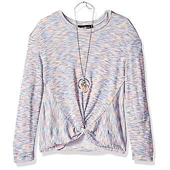 Amy Byer Girls' Big Twist Front Long Sleeve Knit Shirt with, Albastru, Size Medium