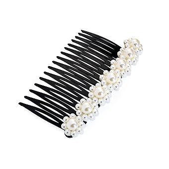 9.5cm Black Hair Comb With Cream Faux Pearl Bead Design