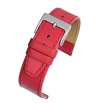 Calf leather watch strap red stitched with chrome buckle size 12mm to 22mm