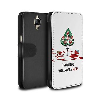 STUFF4 PU Leather Wallet Flip Case/Cover for OnePlus 3/3T/Queen of Hearts / Painting/Fantasy Wonderland Art