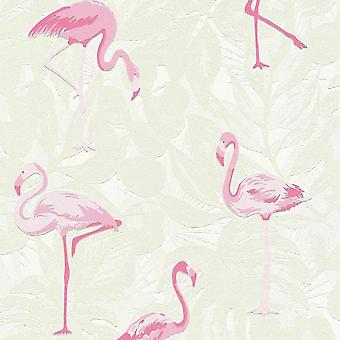A.S. Creație CA Crearea Tropical Pink Flamingo Bird Frunze Wallpaper Relief Leaf 35980-1