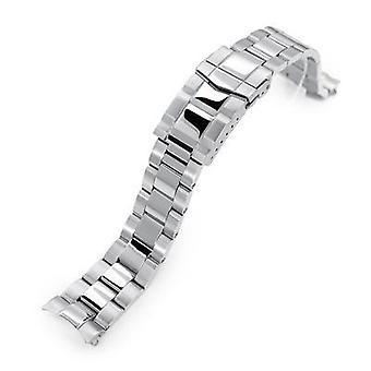 Bracciale orologio Strapcode 20mm super 3d ostriche 316l braccialetto orologio in acciaio inox per seiko cocktail ssa345, spazzolato & chiusura sottomarino lucido