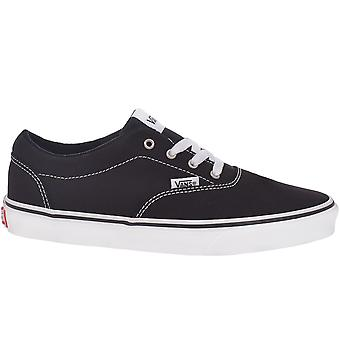 Vans Kids Juniors Doheny Canvas Low Top Casual Trainers Shoes - Black/White