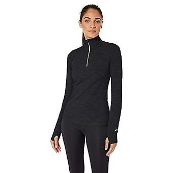 Starter Women's Brushed Waffle Half-Zip Top,  Exclusive, Black Heather, M