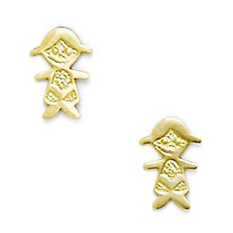 14k Yellow Gold CZ Cubic Zirconia Simulated Diamond Small Doll Screw back Earrings Measures 9x6mm Jewelry Gifts for Wome