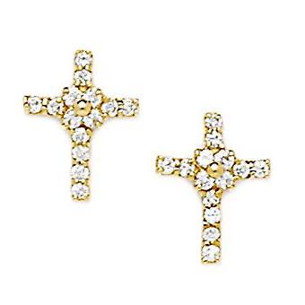 14k oro amarillo CZ Zirconia cúbica simulada diamante medio religioso fe cruz con flor tornillo espalda pendientes medida medida