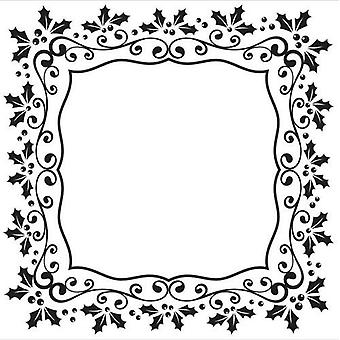 Nellie's Choice Embossing Folder Christmas square holly frame EFE025