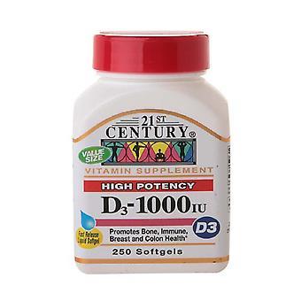 21st century vitamin d3 1000 iu, softgels, 250 ea