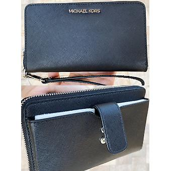 Michael kors jet set medium zip around phone holder wallet wristlet black