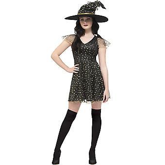 Heks vermomming van gouden sterren vrouw Halloween