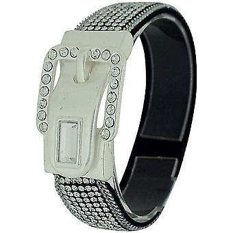 Park Lane Ladies Silvertone Glass Set Fabric Wristband with Magnetic Clasp