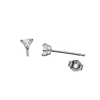 TOC 3mm Triangular Stud Earrings Set in 925 Silver