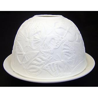Fine Chinese Porcelain Lithophane Tea Light Holder by Welino - Swans