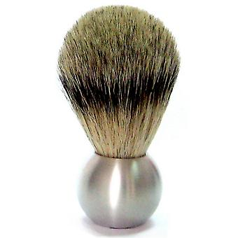 Gold roof shaving brush with badger plucked hair, aluminum handle