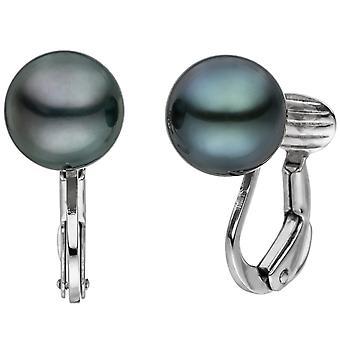 Ear clips 585 gold white gold 2 Tahiti beaded earrings pearl earrings clips