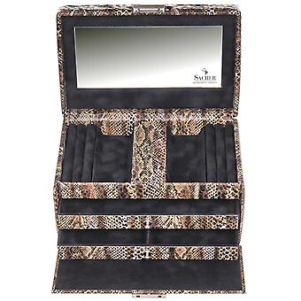 Sacher jewelry case jewelry box PYTHON black brown lock mirror