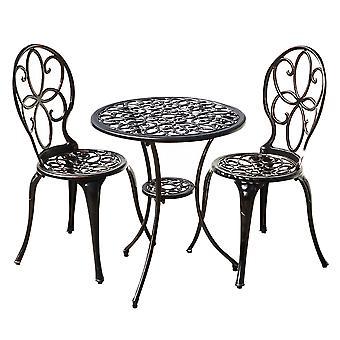 3 Piece Outdoor Metal Garden Patio Bistro Dining Set  - 2 Chairs & Round Table