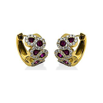 Diamond gemstone earrings - 18K 750/- Yellow gold - 0.45 ct. - 0.72 ct. - 2B864G8-3