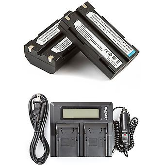 2 Batteries + LCD Dual Rapid Battery Charger for Trimble R7 R8 EiDLi1 5700 5800